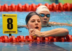 Stina Gardell efter försöket på 200 meter medley i kortbane-EM, Herning. I finalen blev hon sjua. Vann gjorde ungerskan Katinka Hosszu med tiden 2.04.33. Tvåa blev brittiskan Siobhan-Marie O'Connor, trea Sophie Allen, Storbritannien.