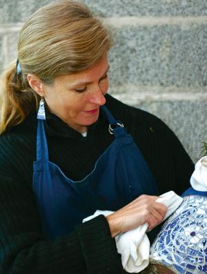 Malena Skote gillar att pyssla och förvandla inredningen med hjälp av textilier.
