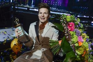 Robin Stjernberg vinner Melodifestivalen, i mars.