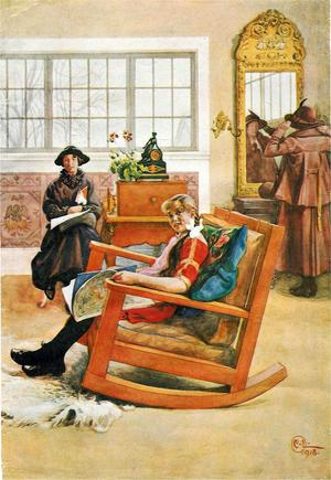 Hattrpovning - den sista målningen som Carl Larsson gör från huset i Falun, signerad 1918.