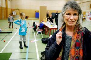 """Kathrin Banck är mamma till 11-årige Johan, som har downs syndrom. """"Det är en enorm gåva att följa ett funktionshindrat barn, alla utvecklingssteg går långsammare. Och det är bra att det finns sporter som är anpassade för funktionshindrade"""", sa hon."""