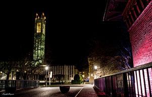 Stadshuset i nattlig skrud