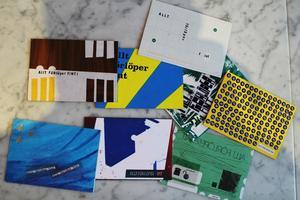 Axplock. Exempel på hur några av vykorten som skickats ser ut. Anders tillverkade vykort  i serier om fyra med likadant motiv.