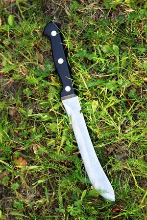 – På gräsmattan låg en riktig slaktarkniv.