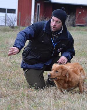 Tollaren Charlie reagerar blixtsnabbt när husse Jan-Erik Eriksson kastar iväg en tennisboll. BILD: SAMUEL BORG