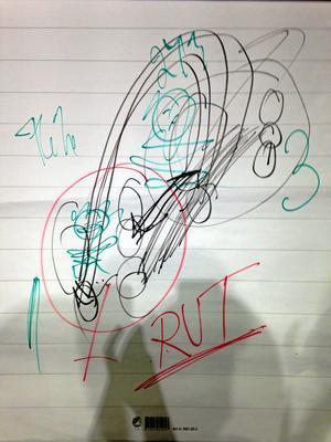Maktstrukturer i samhället. Gudrun Schyman ritade och berättade om hur hon ser på samhället.