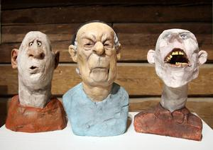 Tre av Sture Collins uttrycksfulla gubbar.