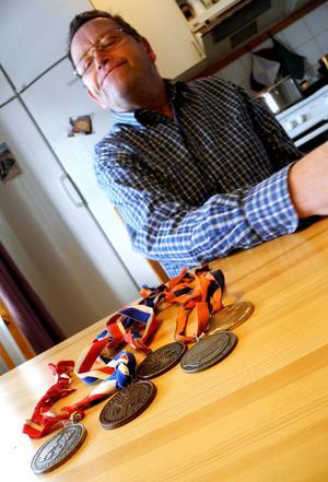 Tommy Gillerås medaljer från internationella mästerskap i bordtennis.