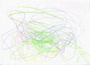 Noel Jahnstedt, 2 år, har ritat ett färgsprakande fyrverkeri!