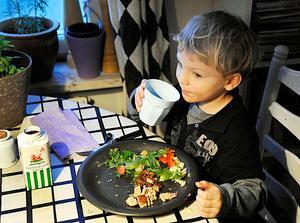 Barn är duktiga på att se till att de får i sig vad de behöver, även om de bara vill äta köttbullar, anser dietisten Carolina Åkerblom. (Pojken på bilden har inget samband med artikeln)