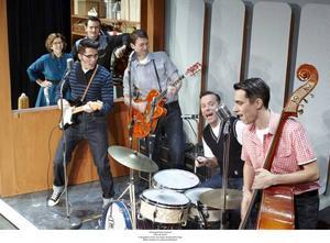 Här började succén. Buddy Holly (Brolle) och The Crickets i en skivstudion i New Mexico.