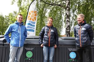 Oskar Djärv,projektsamordnare, Falu Energi & Vatten , Hanna Bergman, återvinningschef,  Falu energi &  Vatten och Henrik Eriksson, kommunikatör, Falu Energi & Vatten