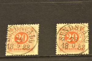 Beviset för att åtminstone en poststämpel måste ha överlevt Sundsvallsbranden: Två frimärken från 29 maj och 28 juni 1888, stämplade med samma stämpel.