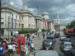 Trafalgar Square i London under OS. Några veckor då London verkligen var den vänliga staden.