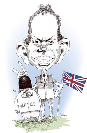 Tony Blair. Han kom in som en frisk fläkt i brittisk politik. Efter samarbete med Bush i kriget mot terrorismen, vilket inkluderade kränkningar mot mänskliga rättigheter, flagnade strålglansen något.