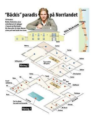 Ny detaljplan ger Nicklas Bäckström rätt att  bygga ett båthus. Grafik: Lars Bergsten. För att se grafiken i stort pdf-format, klicka på länken nedan.