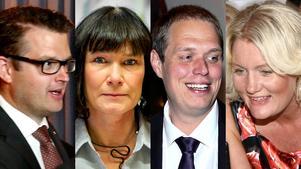 Anders Åhrlin (M), Karolina Wallström (FP), Jonas Millard (SD), Lena Baastad (S).