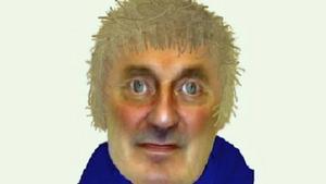Polisens fantombild på den misstänkta gärningsmannen i Brattåsmordet.