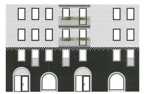 Byggnaden i etapp 2 föreslås vara i ljust tegel med svart tegel på de nedersta två våningarna samt svarta inslag runt fönster mot gatan och vita runt fönstren mot innergården.Skiss: Wingårdhs arkitekter/Magnolia bostad/Södertälje kommun