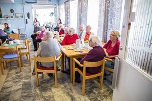 Ett trettiotal besökare lyssnade på folkmusik och fikade under torsdagen.