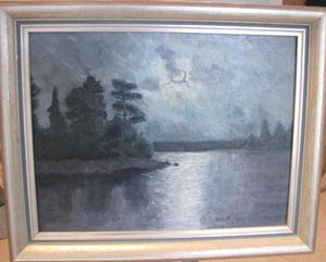 Ett skärgårdsmotiv i olja som Elsie Tapper, då Nilsson, gjorde som tonårig elev till Otto Lindberg.