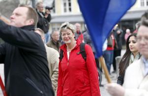 Gillar valrörelse. Huvudtalaren Ylva Johansson (S) såg fram emot september och möjligheten att vinna tillbaka regeringsmakten. foto: Anders forngren