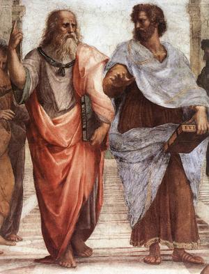 Filosofen Planton (till vänster) tillsammans med eleven Aristoteles. Freskmålning av Rafel från 1509.