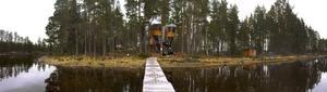 Trädhuset i Haverö har en futuristisk utformning som skapar nyfikenhet och spänning hos besökaren.