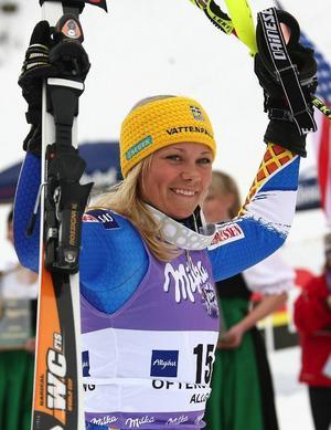 Frida Hansdotter stod på pallen för första gången i världscupen.Foto: Scanpix