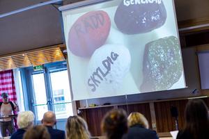 De barn som deltar i Childrens program får skriva sina känslor på stenar. Stenarna stoppas sedan i en ryggsäck som barnen får prova att bära för att förstå hur svåra känslor påverkar kroppen.