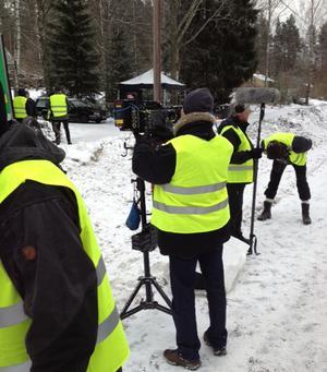 Filmteamet i arbete med Maria Bloms nästa film.