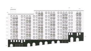 Marken mellan Astrabacken och Storgatan sluttar som mest 6,4 meter, vilket gör att den planerade nybyggnaden ska få två suterrängvåningar.Skiss: Wingårdhs arkitekter/Magnolia bostad/Södertälje kommun