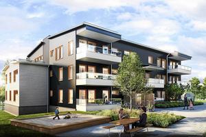 Totalt skulle de nya bostadshusen ge 43 lägenheter. Skiss: Sweco