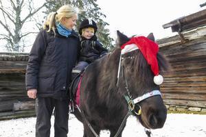 Med stöd av mamma Anna red 2,5-åriga Oda Lilja-Lund på shettlandsponnyn