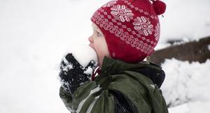 Elsa, 2,5 år, smakar på snön.