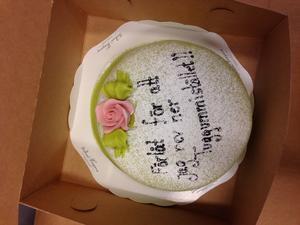 Här är tårtan som kunden skickade till personalen på Pressbyrån.