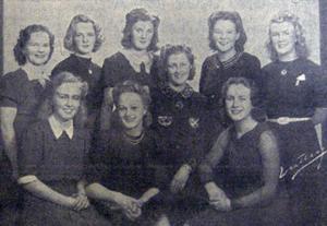 Borlänges allra första Luciakandidater från 1939. Vann omröstningen gjorde Sonja Dahlstrand, som syns längst ned t v, som alltså blev Borlänges allra första officiella Lucia.