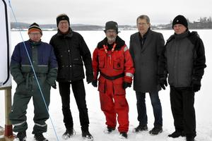 Från vänster: Rune Bernhardsson, Hans Pernsjö, Nils Lindgren, Lennart Fyrk och Kent Engström från Brunnsjöns Vintervänner.