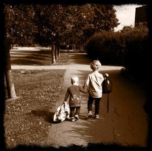 På bilden är mina barnbarn på väg att fira morfar på födelsedagen den 30 aug. Storebror William håller sin lillasyster Julia i handen så snällt. Jag tycker det finns så mycket syskonkärlek i bilden och visar hur storebror tar hand om sin lillasyster när dom går vägen fram mot morfars hus.