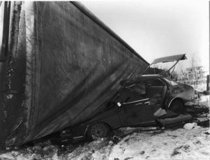 Lars Sjöö hade änglavakt. Flisbilen välte precis framför förarsätet.