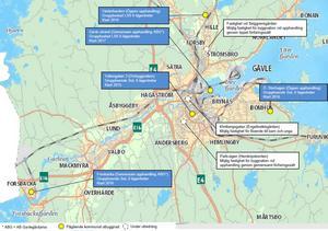 De blå markeringarna visar planerade kommunala särskilda boenden för personer med funktionsnedsättning. De vita rutorna visar sådana som är under utredning.
