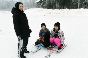 Leila Johansson är en av dem som brukar besöka Kajevall tillsammans med barnen Manne och Aurora.