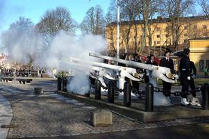 Klockan 12 avfyrades salut från Skeppsholmen för den nyfödda prinsessan av Victoriabataljonen ur Amfibieregementet. Totalt sköts 42 skott.