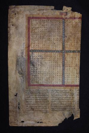 Rhabanus Maurus korsdikt från 800-talet är den äldsta skriften i Stiftsbibliotekets samling.