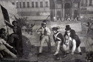 Panoramatapeter på herrgården. Revolutionärernas paroll var frihet och med trikoloren som symbol lockades många soldater från Napoleontiden till revolutionsleden.