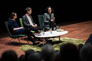 Therese Eriksson, Anders Johansson och Ebba Witt-Brattström på Littfest i Umeå.