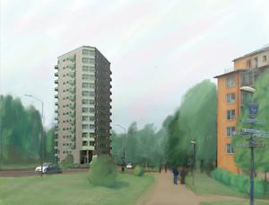 Ett 50-tal mindre lägenheter (ettor, tvåor och treor) kan rymmas i 14-våningshuset. Skissen visar hur byggnaden skulle kunna se ut.