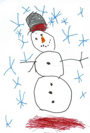 Wilja Forsgren, 4 år, från Ullånger har ritat en glad snögubbe som står ute i ett ymnigt snöfall.