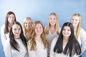 Från vänster bakre raden, Emma Bohlin, Tanja Frisk, Ebba Eriksson, Emilia Salomonsson. Främre raden från vänster, Julia Eriksson, Sofia Högare, Emelie Hermansson.