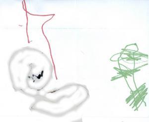 Oskar Engström från Hofors, har ritat Katten Pella som fått en tomteluva och ligger bredvid granen och myser. God Jul!